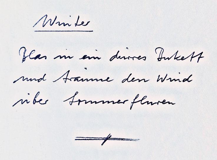 Gerhard Meier handgeschriebenes Gedicht – »Blas in ein dürres Bukett und träume den Wind über Sommerfluren.« – Stiftung Gerhard Meier Haus – Photo 2005 © Pedro Meier Multimedia Artist Gerhard Meier Weg Niederbipp
