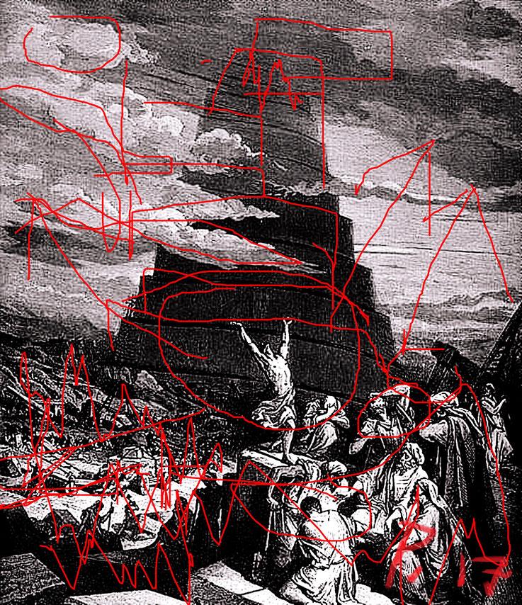 Pedro Meier – Turmbau zu Babel – Sprachverwirrung übermalt 2017 – Paraphrase – rote Striche über Kupferstich von Gustave Doré (1865) – Photo © Pedro Meier Multimedia Artist / ProLitteris – Gerhard Meier Weg – Niederbipp – Olten – Bangkok