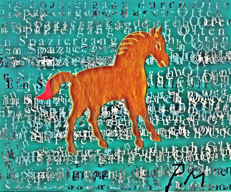 Pedro Meier – »A golden horse in the painting – No. V« – Mix Media artwork by Pedro Meier – 2017 – Photo © Pedro Meier Multimedia Artist / ProLitteris – Gerhard Meier Weg Atelier – Niederbipp – Olten – Bangkok