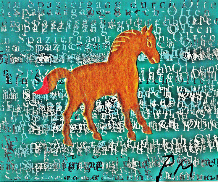Pedro Meier DigitalArt – »A golden horse in a painting – No. V« – 2017 Artwork by Pedro Meier © Multimedia Artist MoMA – Visual Art Museum Bangkok – FLUXUS – DADA – ComputerArt – SIKART Zürich. Atelier: Niederbipp Bern bei Solothurn Oberaargau Switzerland