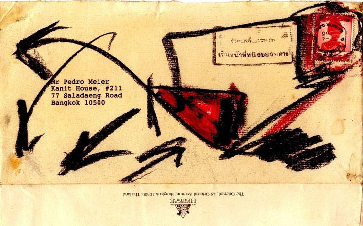 Pedro Meier Mail Art. Mandarin Oriental Hotel, Chao Phraya River, Bangkok. Briefumschlag übermalt. Adressiert an Pedro Meier, Sala Daeng Road, Bangkok. 1992. Photo © Pedro Meier, Gerhard Meier-Weg, Niederbipp, Kunsthalle Olten Offspace, Bangkok Art-Group