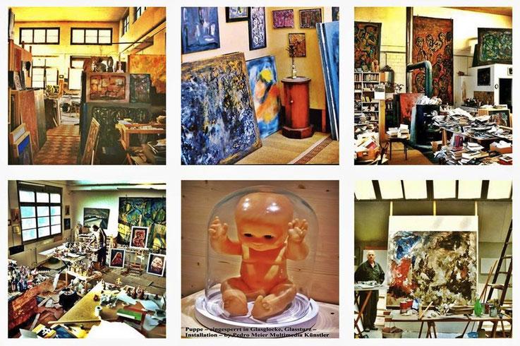 Pedro Meier Atelier-Impressionen – Work in Progress – Archiv Foto © Pedro Meier Multimedia Artist – Atelier: Niederbipp, Kunsthalle Olten Offspace, Gallery Bangkok BACC. SIKART ZH. Buch: PARALLELWELTEN, Amrain Books, www.autorenwelt.de/person/pedro-meier
