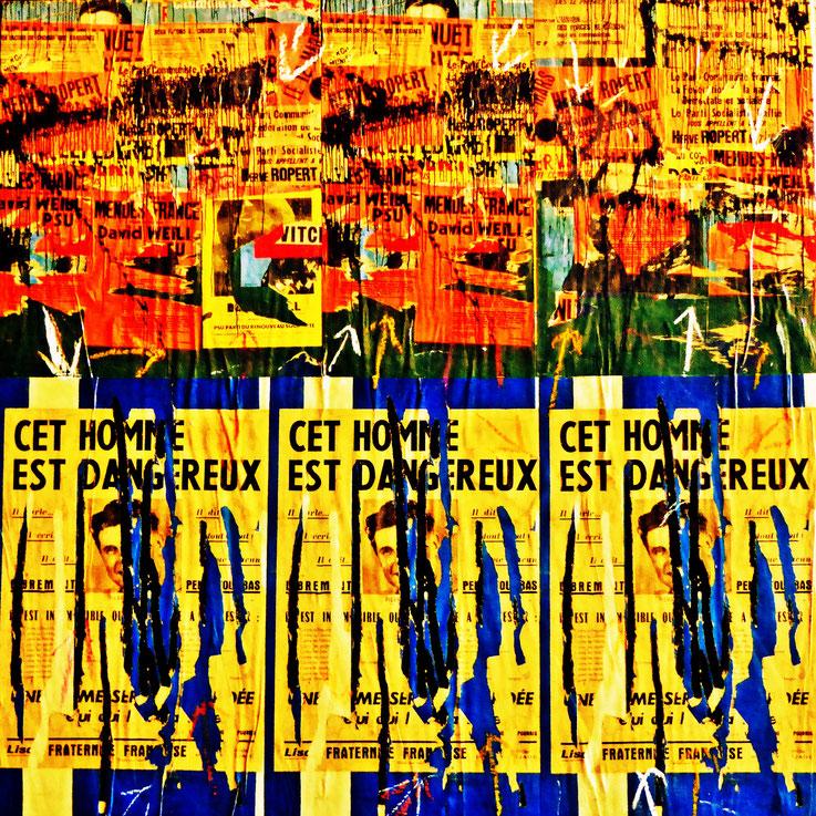 Pedro Meier – Décollage Plakatabrissen übermalt – Papier auf Leinwand – 50 x 50 cm 2016 – Foto © Pedro Meier Multimedia Artist Gerhard Meier Weg Niederbipp – Olten – Bangkok