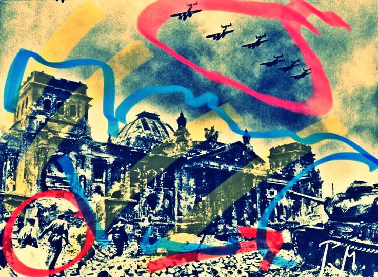 Pedro Meier Berlin Luftkrieg übermalte Fotografien, Overpainted Photographs. Bomberstaffel über Reichstag. Luftterror. 2018 Foto © Pedro Meier Multimedia Artist. Ateliers: Gerhard Meier-Weg Niederbipp, Kunsthalle Olten Offspace. Bangkok Art Group, SIKART