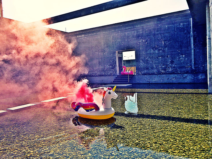 Pedro Meier Gone with the Wind, Uferpark, Pink Colour Smoke Bomb Action Campus Attisholz Areal »Weisses Einhorn« Rauch Performance, Solothurn, Kantine 1881 © by Pedro Meier Multimedia Artist Niederbipp. Kunsthalle Olten. Bangkok BACC Visarte SIKART Zürich