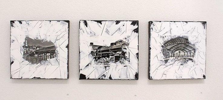 Pedro Meier – Kunstverein Olten / Visarte-Solothurn Ausstellung »SCHWARZ-WEISS« 2017 – Olten mit alter Holzbrücke / Olten Dampflok Elefant / Olten Bahnhofshalle, 2017, Collage, Mischtechnik auf Leinwand. © Pedro Meier Multimedia Art Niederbipp Bern
