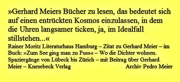 Rainer Moritz Literaturhaus Hamburg – Zitat zu Gerhard Meier – im Buch »Zum See ging man zu Fuss« – Wo die Dichter wohnen. Spaziergänge von Lübeck bis Zürich – mit Beitrag über Gerhard Meier Niederbipp alias Amrain – Knesebeck Verlag – Archiv Pedro Meier