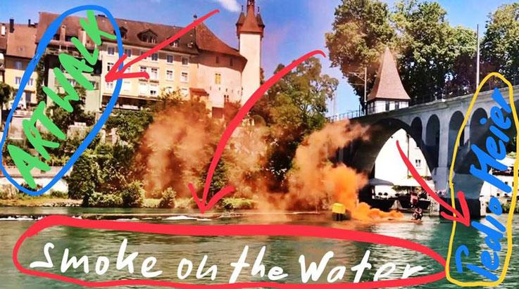 Pedro Meier – Rauch-Performance – Bremgarten ArtWalk – »Smoke On The Water« by Pedro Meier Multimedia Artist –– Reuss, Fällbaum, Holzbrücke, Hotel Stadthof, Bijou – Atelier Gerhard Meier-Weg Niederbipp und Bangkok, Kunsthalle Olten Visarte, SIKART Zürich