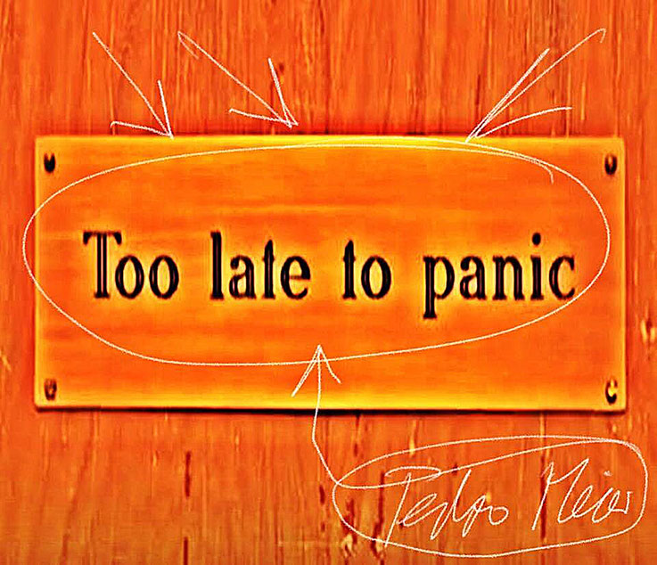 Pedro Meier – »Too late to Panic« – Zitat Pedro Meier Multimedia Artist – Atelier: Gerhard Meier-Weg Niederbipp Bern / Solothurn / Bangkok Thailand / Olten Kunsthalle – Visual Art Museum – DiaryArt MailArt DigitalArt – FLUXUS DADA VISARTE SIKART Zürich