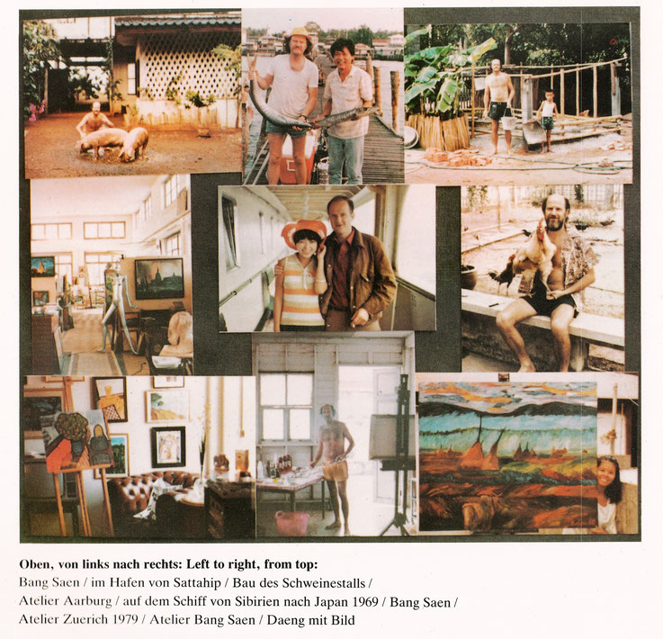 Aus Buch Pedro Meier »Werke/Paintings – 1979-1981« Elephant Press Bangkok Thailand /  1987 – von oben links nach rechts: Bang Saen – Hafen Sattahip – Bau des Schweinestalls – Atelier Aarburg – auf dem Schiff von Sibirien nach Japan 1969 – Zürich – Ölbild