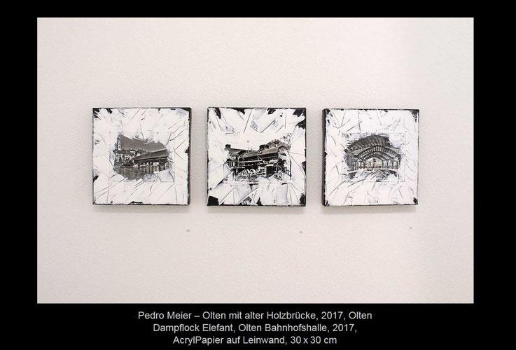 Pedro Meier – Kunstverein Olten / Visarte-Solothurn Ausstellung »SCHWARZ-WEISS« 2017 – Olten mit alter Holzbrücke / Olten Dampflok Elefant / Olten Bahnhofshalle, 2017, Collage, Mischtechnik auf Leinwand, 30x30 cm. © Pedro Meier Multimedia Art Niederbipp