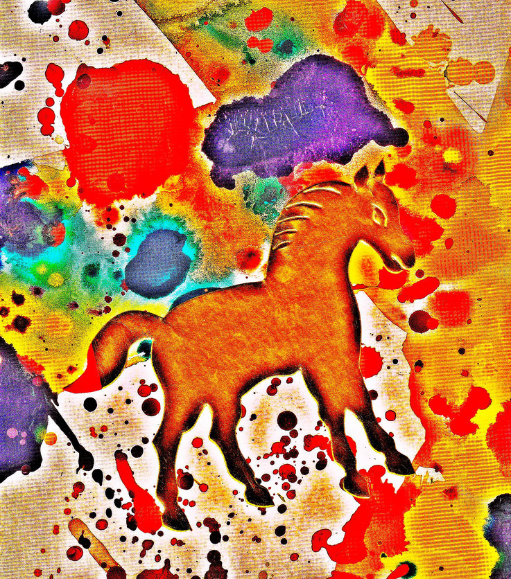 Pedro Meier – »A golden horse in a painting of Sam Francis« – Mixed Media artwork by Pedro Meier – 2017 – Photo © Pedro Meier Multimedia Artist / ProLitteris – Gerhard Meier Weg Atelier – Niederbipp – Olten – Bangkok