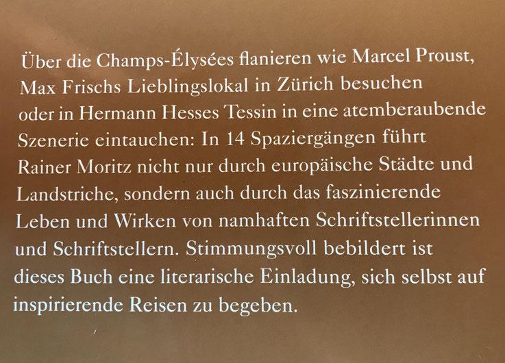Rainer Moritz Literaturhaus Hamburg – Klappentext zu »Zum See ging man zu Fuss« – Wo die Dichter wohnen. Spaziergänge von Lübeck bis Zürich – mit Beiträgen über Gerhard Meier Niederbipp, Hesse, Kafka, Pessoa, Frisch – Knesebeck Verlag – Archiv Pedro Meier