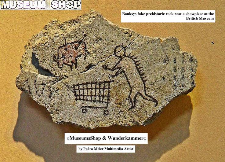 Pedro Meier: Banksys fake prehistoric rock now a showpiece at the British Museum. Ausstellung »MuseumsShop & Wunderkammer«. Eine Persiflage / Parodie auf den kommerzialisierten Museumsbetrieb. Installation Pedro Meier Multimedia Artist Campus Attisholz SO