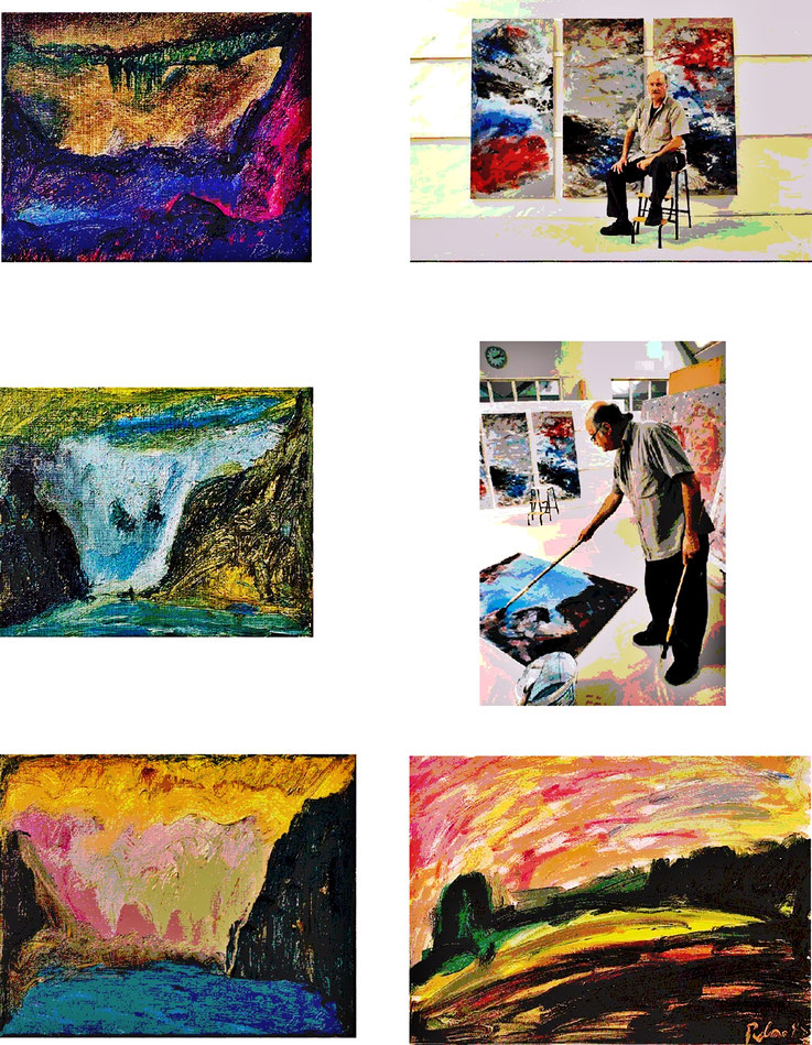 Pedro Meier Atelier-Impressionen 2001 – Bilder für Ausstellung Galerie Kornhaus Herzogenbuchsee – Kunstverein – Pedro Meier Multimedia Artist, Gerhard Meier Weg Niederbipp – Atelier Shedhalle Roggwil-Wynau Gugelmann-Areal – (2001 total abgebrannt)