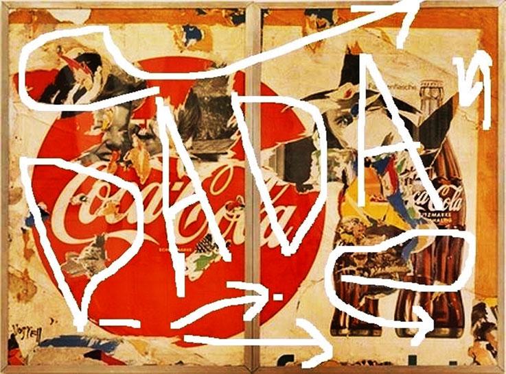 Pedro Meier DigitalArt – Hommage à Dadaismus – »DADA – Coca-Cola«, overpainted Collage – 2016 Artwork by © Pedro Meier Multimedia Artist MoMA – Visual Art Museum Bangkok – FLUXUS – DADA – ComputerArt – SIKART Zürich – Atelier: Niederbipp Bern, Switzerland