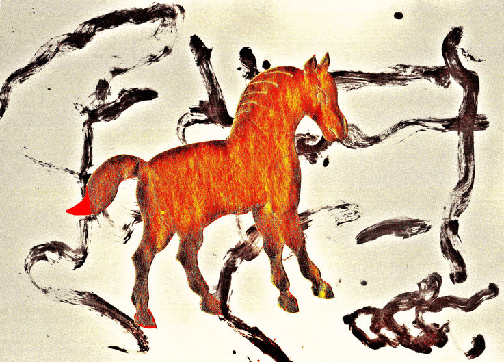 Pedro Meier – »A golden horse in a painting of Willem de Kooning« – Mixed Media artwork by Pedro Meier – 2017 – Photo © Pedro Meier Multimedia Artist / ProLitteris – Gerhard Meier Weg Atelier – Niederbipp – Olten – Bangkok