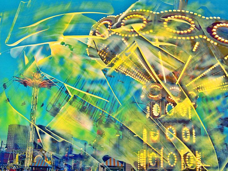Pedro Meier – Karussell – Coney Island – Oil/lacquer on photo paper – Monotype – 2018 – Dreamland Luna Park, Brooklyn – New York – Photo © Pedro Meier Multimedia Artist MoMA Bangkok – FLUXUS – DADA – SIKART Zürich – Gerhard Meier Weg Niederbipp Bern