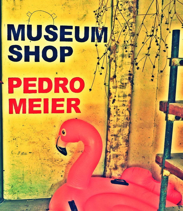 Pedro Meier: Flamingo, Artefakte, Neon, Leuchtschlangen. Ausstellung »MuseumsShop & Wunderkammer«. Eine Persiflage / Parodie auf den kommerzialisierten Museumsbetrieb. Installation Pedro Meier Multimedia Artist Campus Attisholz, Bangkok-BACC.SIKART Zürich