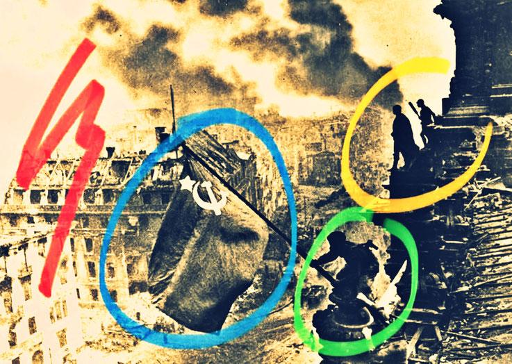 Pedro Meier Berlin Luftkrieg übermalte Fotografien, Overpainted Photographs. Russen hissen Flagge auf dem Reichstag. 2018 Foto © Pedro Meier Multimedia Artist. Ateliers: Gerhard Meier-Weg Niederbipp, Kunsthalle Olten Offspace. Bangkok Art Group, SIKART ZH