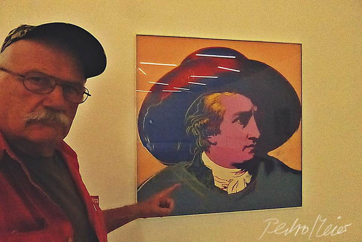 Pedro Meier – Andy Warhol – J. W. Goethe – Kunsthaus Grenchen  – »Selfie-Art-Project« by © Pedro Meier – Teilnahme 21.Triennale Grenchen, siehe Katalog Abb./Doku S.52 – www.triennale.ch – Atelier: Niederbipp / Bangkok / Kunsthalle Olten Offspace – SIKART