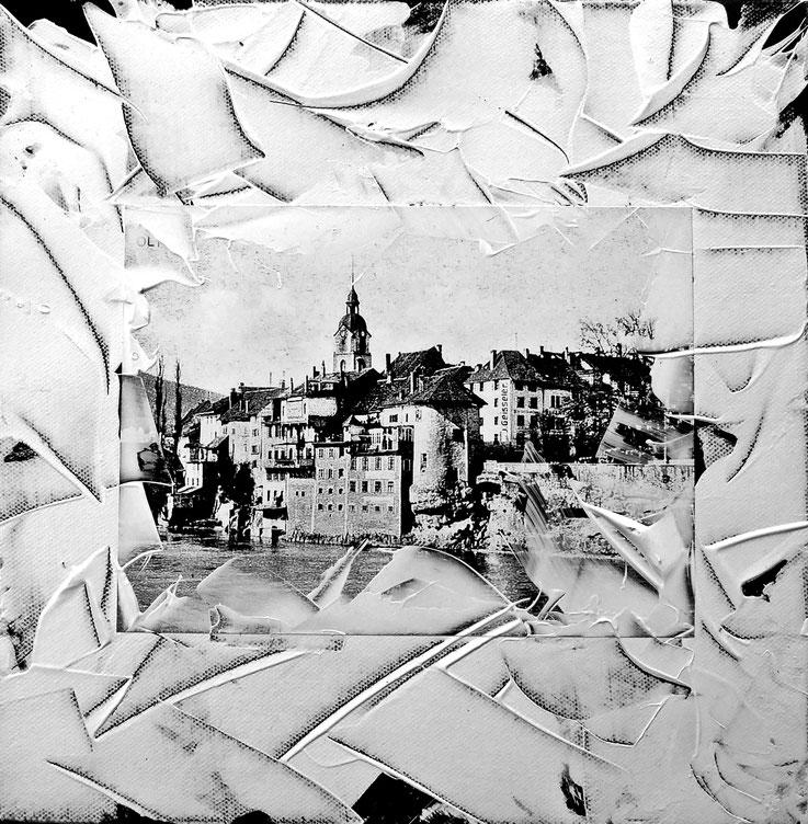 Pedro Meier – Olten Altstadt – 30 × 30 cm Acryl – Papier auf Leinwand – Ausstellung Kunstverein Olten – SCHWARZ-WEISS – VISARTE Solothurn 2017 – Foto © Pedro Meier / ProLitteris – Gerhard Meier-Weg Niederbipp – Atelier – Olten – Bangkok Museum Kunst