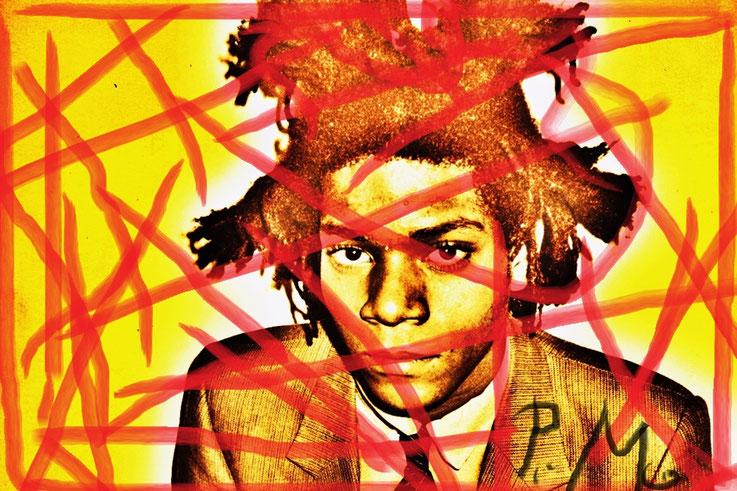 Pedro Meier DigitalArt – Jean-Michel Basquiat – Paraphrase Nr. 24 – Portrait overpainted 2015 Artwork by © Pedro Meier Multimedia Artist MoMA – Visual Art Museum Bangkok – FLUXUS – DADA – ComputerArt. SIKART Zürich – Niederbipp Bern, Solothurn Switzerland