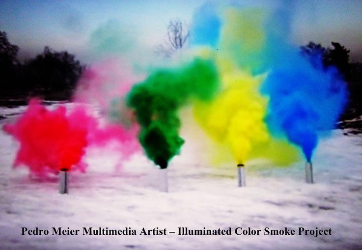 Pedro Meier – Illuminated Color Smoke Project Nr. 3, 2017 – Land art, minimal art, conceptual art, Earth art, spirituality – Member VISARTE, IAA AIAP UNESCO, Artforum, – Photo © Pedro Meier / ProLitteris Multimedia Artist Niederbipp, Switzerland – Bangkok