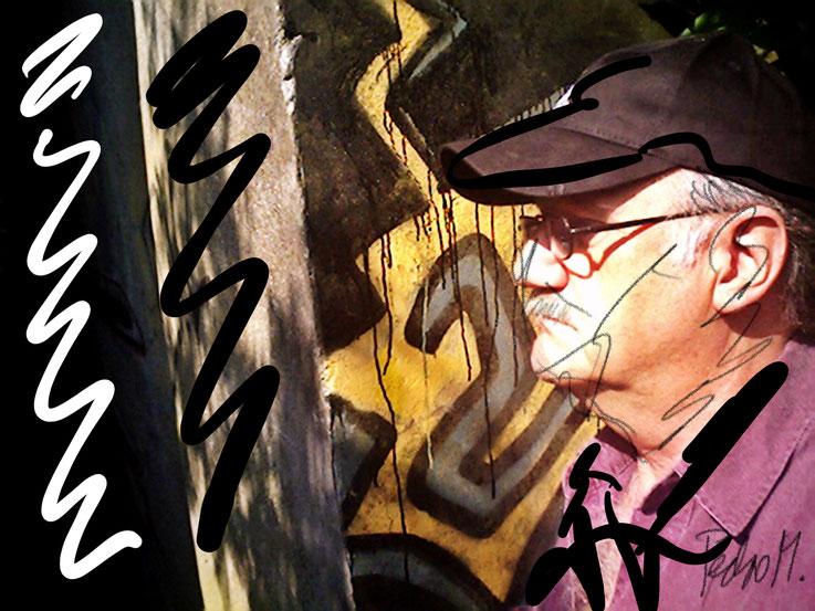Pedro Meier – Aareweg Olten Graffiti – PhotoArt by © Pedro Meier Multimedia Artist – »Selfie-Art-Project« 2003 – Atelier Gerhard Meier-Weg Niederbipp und Bangkok Thailand – Kunsthalle Olten Offspace – DADA FLUXUS MailArt DigitalArt VISARTE SIKART Zürich