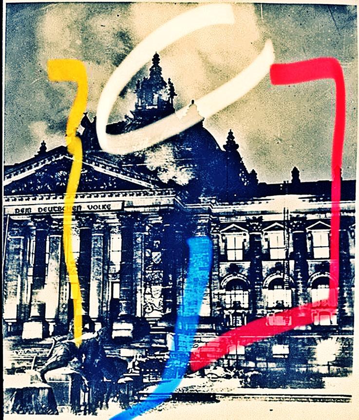 Pedro Meier Berlin Luftkrieg übermalte Fotografien, Overpainted Photographs. Reichstag. Luftterror. 2018 Foto © Pedro Meier Multimedia Artist. Ateliers: Gerhard Meier-Weg Niederbipp, Kunsthalle Olten Offspace. Bangkok Art Group, Visarte, SIKART Zürich