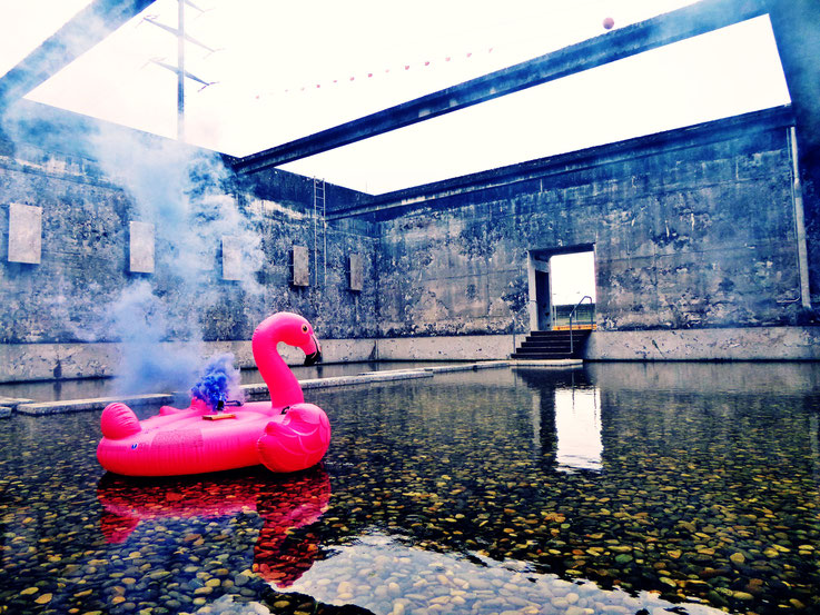 Pedro Meier »Pink Flamingo«, Rauch Performance. Uferpark, Blue Colour Smoke Bomb Action, Campus Attisholz Areal, Kantine 1881, Luterbach © by Pedro Meier Multimedia Artist Niederbipp. Kunsthalle Olten. Bangkok Art Group BACC Visarte. Lexikon SIKART Zürich
