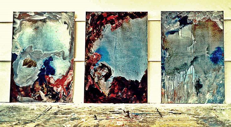 Pedro Meier – Triptychon »Insel Rügen«, Öl Lack auf Leinwand – 200 x150 cm 1995 – Fabrik-Atelier Shedhalle Roggwil-Wynau – ausgestellt 2017 Franz Eggenschwiler Stiftung Eriswil – Pedro Meier Multimedia Artist Gerhard Meier Weg Niederbipp, Olten, Bangkok