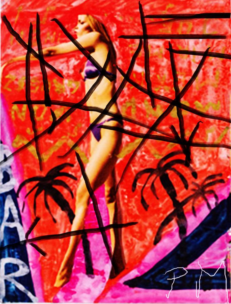 Pedro Meier übermalt »Franz West Übermalungen« – Pornomagazinseiten – Mischtechnik, Collage auf Papier – Arbeit Nr. 04 – 2017 – Photo & Art Work © Pedro Meier Multimedia Artist / ProLitteris – Gerhard Meier Weg – Atelier: Niederbipp – Olten – Bangkok