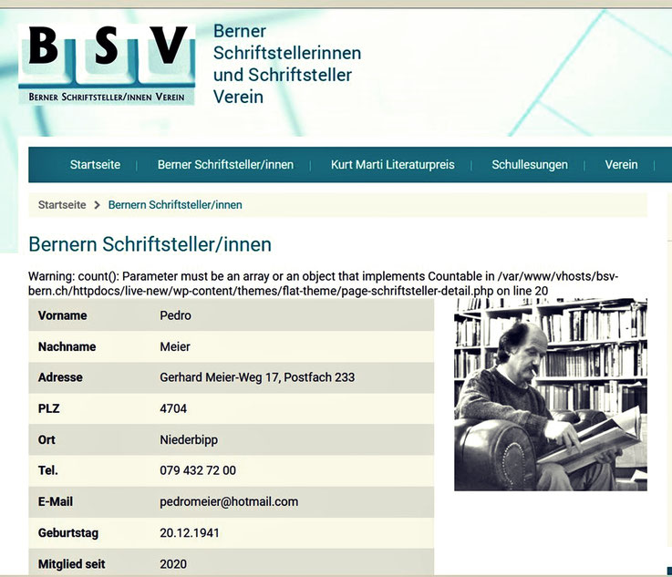 Pedro Meier – Berner Schriftsteller Verein – BSV – Mitglied – Pedro Meier Lyriker, Schriftsteller, Multimedia-Künstler – A*dS Lexikon Autorinnen und Autoren der Schweiz (AdS) Zürich – SIKART Künstlerlexikon Zürich ProLitteris – Visarte – FotoCH – SoKultur