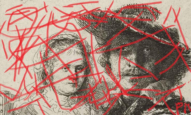 Pedro Meier DigitalArt – Rembrandt Paraphrase – Selbstbildnis mit Saskia 1636 –Artwork 2017 by Pedro Meier © Multimedia Artist MoMA – Visual Art Museum Bangkok – FLUXUS – DADA – ComputerArt – SIKART Zürich – Niederbipp Bern bei Solothurn – Switzerland