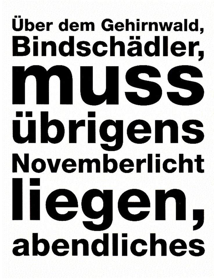 Gerhard Meier – Theater Luzern Plakat zu »In Amrains Welt« – »Über dem Gehirnwald, Bindschädler, muss übrigens Novemberlicht liegen, abendliches« – Inszenierung Ueli Jäggi (Robert Walser – Dürrenmatt) Malte Ubenauf – 2010 – Archiv Pedro Meier Niederbipp