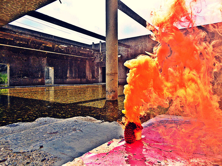 Pedro Meier Uferpark Yellow Colour Smoke Bomb Action »Pink Flamingo«, Rauch Performance. Campus Attisholz Areal Solothurn, Kantine 1881, © by Pedro Meier Multimedia Artist Niederbipp. Kunsthalle Olten. Bangkok Art Group BACC Visarte. Lexikon SIKART Zürich