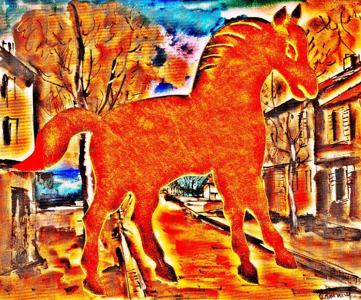 Pedro Meier – »A golden horse in a painting of Maurice de Vlaminck« – Mixed Media artwork by Pedro Meier – 2017 – Photo © Pedro Meier Multimedia Artist / ProLitteris – Gerhard Meier Weg – Atelier – Niederbipp – Olten – Bangkok