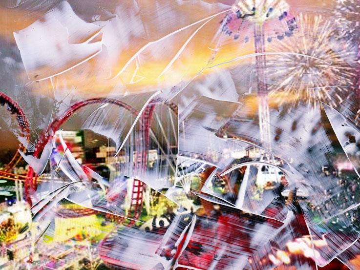 Pedro Meier – Luna country – Coney Island – Oil/lacquer on photo paper – Monotype – 2018 – Dreamland Luna Park, Brooklyn – New York – Photo © Pedro Meier Multimedia Artist MoMA Bangkok – FLUXUS – DADA – SIKART Zürich – Gerhard Meier Weg Niederbipp