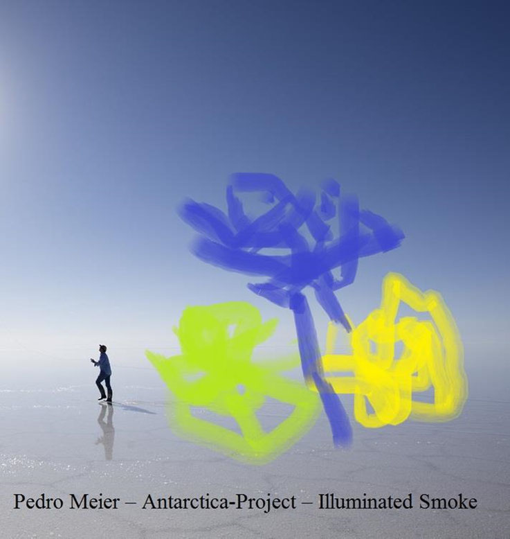 Pedro Meier – Ideas and Test run 1 – Antarctica Project – Illuminated Color Smoke –2017 – Land art, minimal art, conceptual art, Earth art, spirituality – Member VISARTE, IAA AIAP UNESCO, Artforum – © Pedro Meier Multimedia Artist Niederbipp Swiss Bangkok