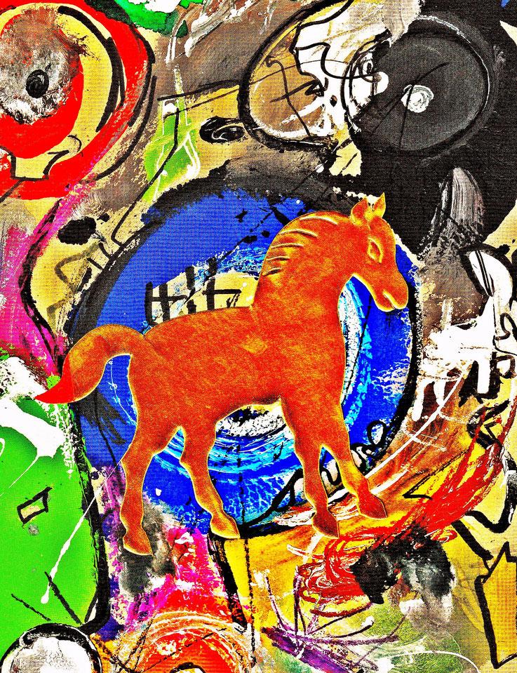 Pedro Meier – »A golden horse in a painting of Jean Tinguely« – Mixed Media artwork by Pedro Meier – 2017 – Photo © Pedro Meier Multimedia Artist / ProLitteris – Gerhard Meier Weg Niederbipp (Atelier: Olten – Bangkok)