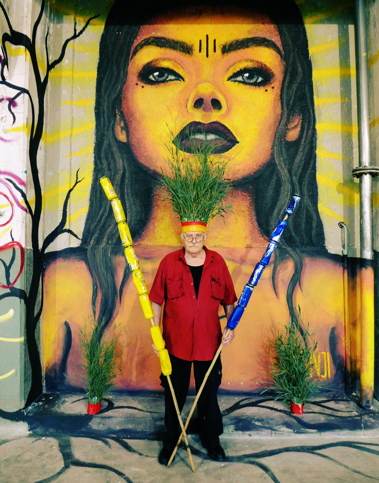 The last Mohicans by © Pedro Meier, Fluxus DADA Climate Change Performance: Bamboo, trash alu beer cans, Homage to the indigenous Amazon peoples and Native American Indians. Gesamtkunstwerk, Graffiti Attisholz Areal Solothurn. Visarte – SIKART Zürich
