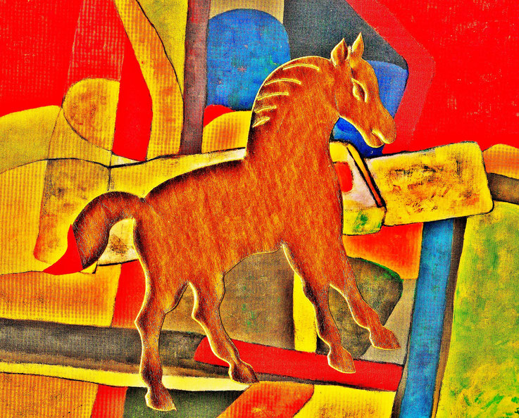 Pedro Meier DigitalArt – »A golden horse in a painting – No. X« – 2017 Artwork by Pedro Meier © Multimedia Artist MoMA – Visual Art Museum Bangkok – FLUXUS – DADA – ComputerArt – SIKART Zürich. Atelier: Niederbipp Bern bei Solothurn Oberaargau Switzerland