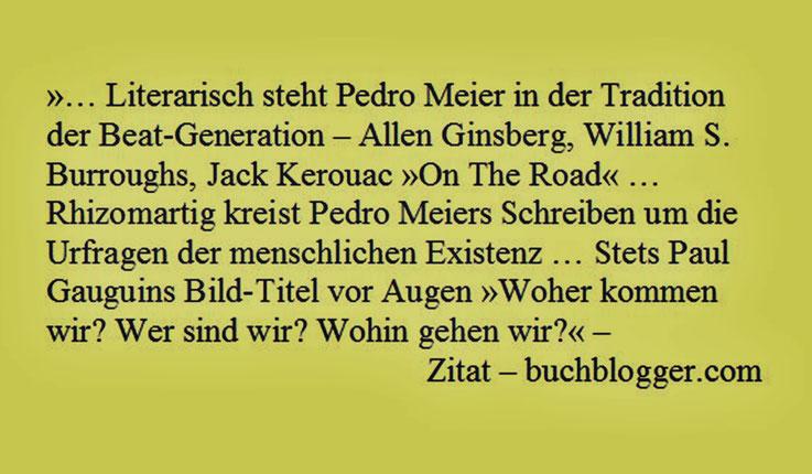 Pedro Meier – »… literarisch steht Pedro Meier in der Tradition der Beat-Generation – Ginsberg, Burroughs, Jack Kerouac »On The Road« … Rhizomartig kreist Pedro Meiers Schreiben um die Urprofragen der menschlichen Existenz …« – Zitat aus buchblogger.com