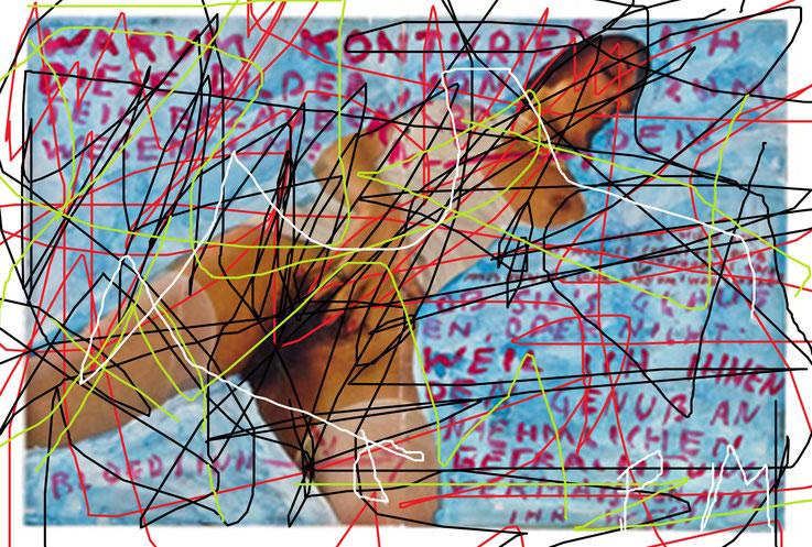 Pedro Meier übermalt »Franz West Übermalungen« – Pornomagazinseite– Mischtechnik, Collage auf Papier – Arbeit Nr. 14 – 2017 – Photo & Art Work © Pedro Meier Multimedia Artist / ProLitteris – Gerhard Meier Weg – Atelier: Niederbipp – Olten – Bangkok