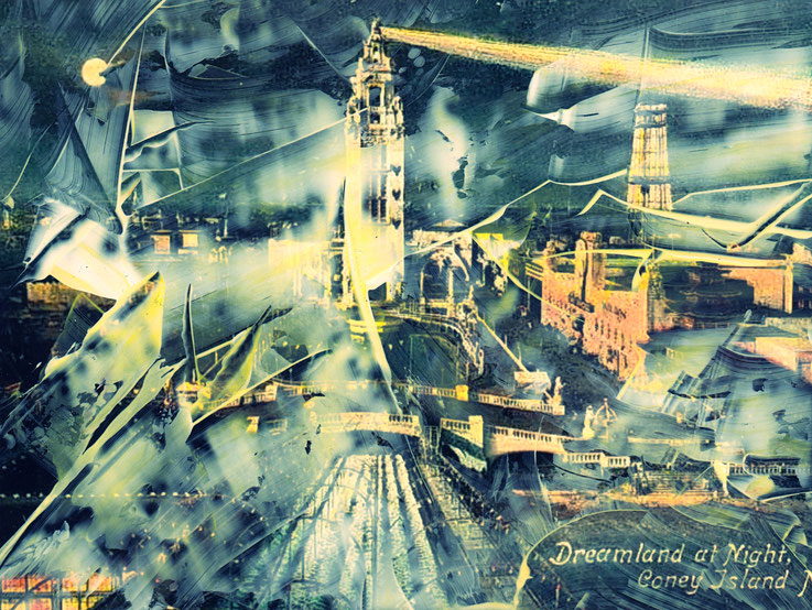 Pedro Meier – Mitternacht – Coney Island – Oil/lacquer on photo paper – Monotype – 2018 – Dreamland Luna Park, Brooklyn – New York – Photo © Pedro Meier Multimedia Artist MoMA Bangkok – FLUXUS – DADA – SIKART Zürich – Gerhard Meier Weg Niederbipp