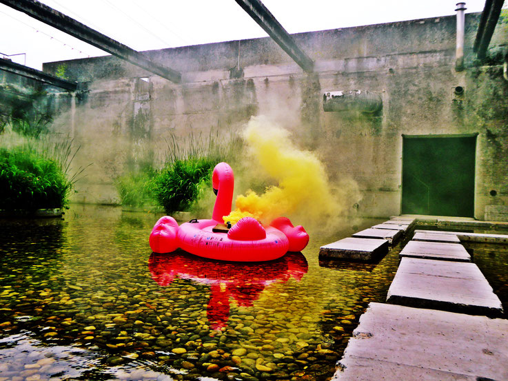 Pedro Meier Rauch Performance Uferpark, Colour Smoke Bomb Action »Pink Flamingo« – Campus Attisholz Alte Zellulosefabrik, Kantine 1881. © by Pedro Meier Multimedia Artist Niederbipp. Kunsthalle Olten. Bangkok Art Group BACC. Visarte. Lexikon SIKART Zürich