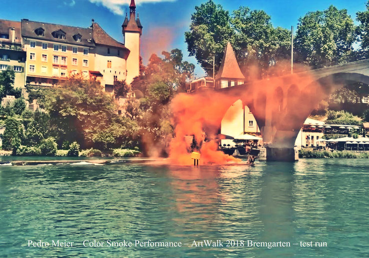 Pedro Meier – ArtWalk Bremgarten – Color Smoke Project, (test run) – Insel Fällbaum, Reuss, Holzbrücke, Eisenbahnbrücke BD Wohlen – Casino, Sonne, Bijou, Stadthof – © Pedro Meier Multimedia Artist Gerhard Meier-Weg Niederbipp, MoMA, Visarte, SIKART Zürich