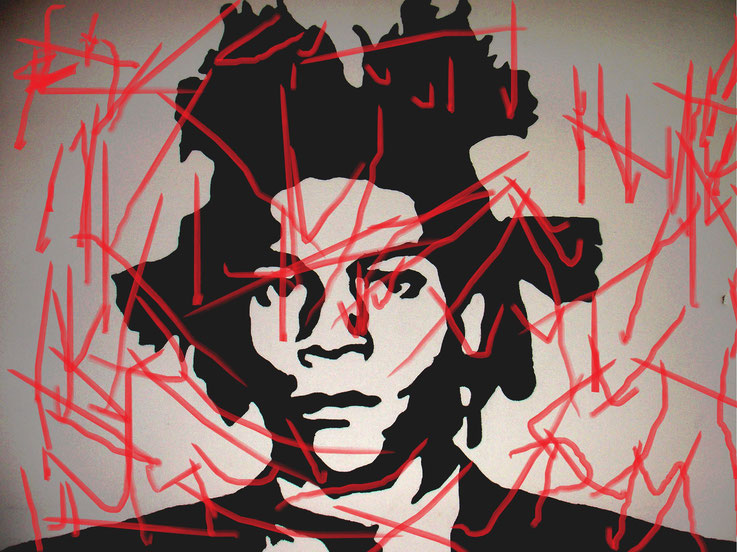 Pedro Meier DigitalArt – Jean-Michel Basquiat – Paraphrase Nr. 04 – Portrait overpainted 2016 Artwork by © Pedro Meier Multimedia Artist MoMA – Visual Art Museum Bangkok – FLUXUS – DADA – ComputerArt. SIKART Zürich – Niederbipp Bern, Solothurn Switzerland