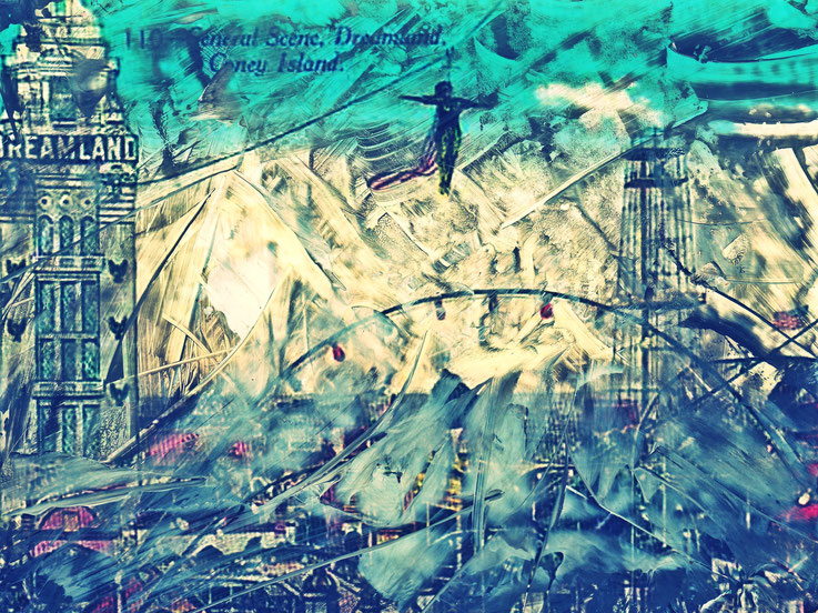 Pedro Meier – Blue dreamland – Coney Island – Oil/lacquer on photo paper – Monotype – 2018 – Dreamland Luna Park, Brooklyn – New York – Photo © Pedro Meier Multimedia Artist MoMA Bangkok – FLUXUS – DADA – SIKART Zürich – Gerhard Meier Weg Niederbipp